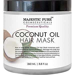 Coconut Oil Hair Mask From Majestic Pure Offers Natural Hair Care Treatment, Hydrating & Restorative Mask Restores Shine, Nourishes Scalp & Provides Deep Conditioning for Dry & Damaged Hair, 8.8 fl oz
