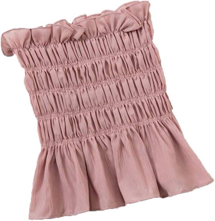 Gilet de Couleur Unie Bandeau sans Bretelles Bandeau Crop Top /à Volants pliss/és Shirred Sweet Bodycon Ruffles Frill Mini Womens Summer Blouse 1# Blanc WINJEE