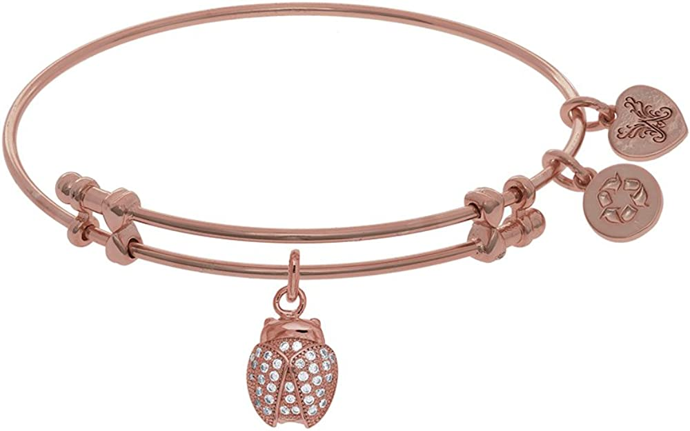 Brass with Pink Finish Charm with White CZ Ladybu G On Pink Angelica Collection Bangle