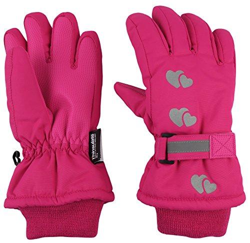 N'Ice Caps Little Girls Reflector Cute Hearts Waterproof Thinsulate Gloves