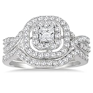 AGS Certified 1 Carat TW Double Row Halo Princess Diamond Bridal Set in 10K White Gold (K L Color, I2 I3 Clarity)