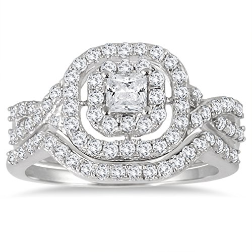 AGS Certified 1 Carat TW Double Row Halo Princess Diamond Bridal Set in 10K White Gold (K-L Color, I2-I3 Clarity)