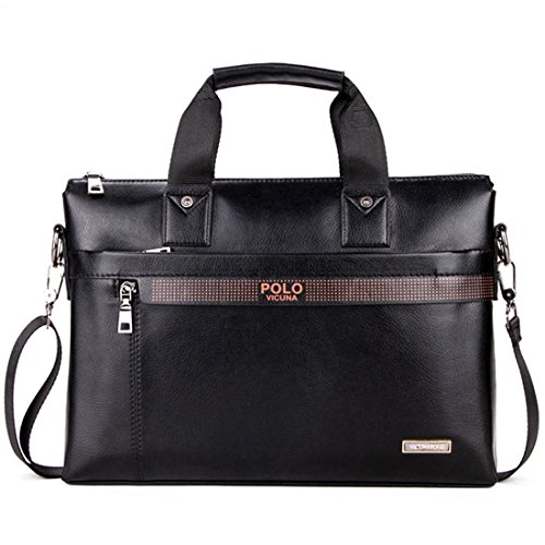 VICUNA POLO Men Briefcase Bag Business Bag Leather Laptop Bag Man Bag Handbag (black for - Male Polo Models