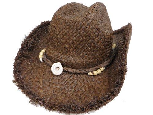 Raffia Western Hat Frayed Edge / Seashell Design / Chocolate