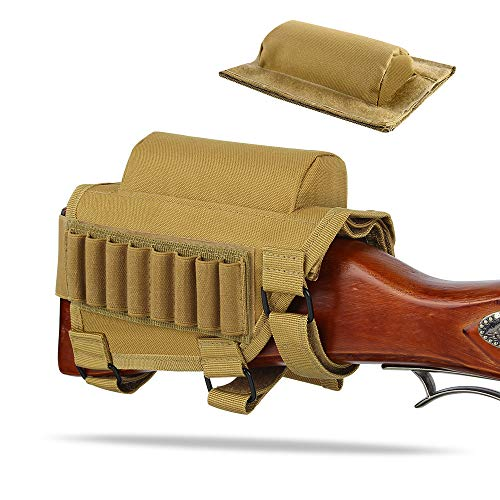 - AIRSSON Rifle Buttstock Adjustable Tactical Cheek Rest Shell Holder Pouch with Ammo Carrier for 300 Winmag (Tan)