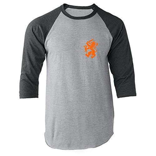 Dutch Soccer Retro National Team Halloween Costume Gray 2XL Raglan Baseball Tee Shirt