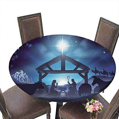 PINAFORE Premium Tablecloth Christian Nativity Scene of Baby Jesus Surrounded by The Animals and Wise Men in The Distance Everyday Use 63
