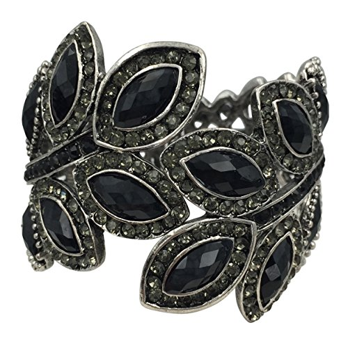 Gypsy Jewels Large Leaf Statement Rhinestone Wide Hinged Bangle Bracelet (Black) ()