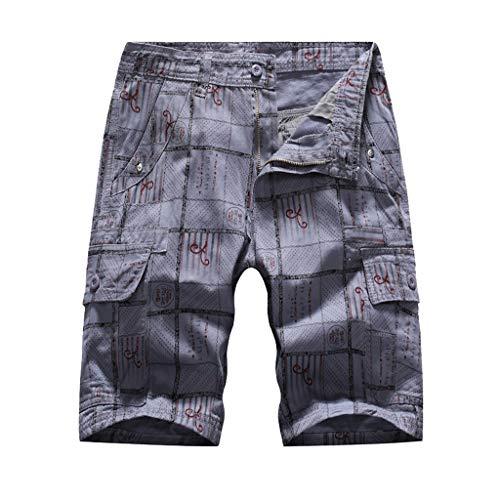 khdug✿Shorts for Men, Hawaiian Summer Casual Tooling Multi-Pocket Casual Loose Shorts Beach Pants Trousers Gray
