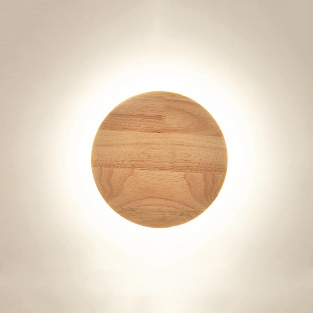 Pumpink 個性的 LEDライト クリエイティブ 無垢材 ログベッドサイド 寝室 木製 壁ランプ 北部 モダン 丸型 楕円形 通路 廊下 装飾ライト オーク 壁取り付け用燭台 Ball-Diameter: 25 cm SN331 B07PHQ8LMF ホワイトライト Ball-Diameter: 25 cm