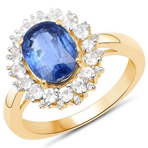 Bonyak Jewelry Genuine Oval Kyanite and White Topaz Ring in Sterling Silver - Size 8.00