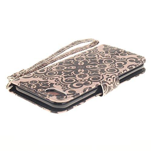 Für iphone 7 Hülle Leder ,SKYXD Retro Blume Muster Klapphülle PU Folio Ledertasche Schutzhülle Trageschlaufe Magnetverschluss Kartenfächer Brieftasche Standfunktion Handyhülle mit [Krone Staubstecker