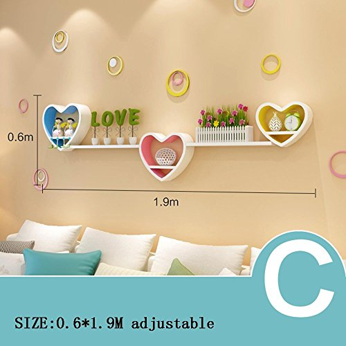 HOMEE Creative Wall Shelves Heart Shelf Shelves Tv Background Wall Shelves Living Room Wall Bedroom Wall Decoration (Multiple Styles Available),C by HOMEE