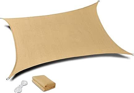 مظلة شمسية مستطيلة الشكل تعطي ظلاً بلون الرمال مع شبكة واقية من اشعة الشمس فوق البنفسيجية للاستخدام في الهواء الطلق والانشطة 3 × 5 متر