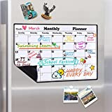Homein Magnetic Dry Erase Calendar for Refrigerator,2018-2019 Monthly Planner Kitchen Magnets Large Whiteboard Organizing Calendar Family To Do List Section,16.9in X 11.8in