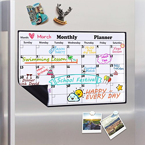 Magnetic Dry Erase Calendar for Refrigerator,2018-2019 Monthly Planner Kitchen Magnets Large Whiteboard Organizing Calendar Family to Do List Section,16.9in X (Dry Erase Calendar Magnets)