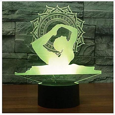 Humor cambiante Luces de Noche Colorido Visual Led 3D Yoga ...