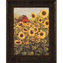 Field Of Sunflowers by Glynda Turley 17x21 Red Barn Yellow Flowers Framed Art Print Wall Décor Picture