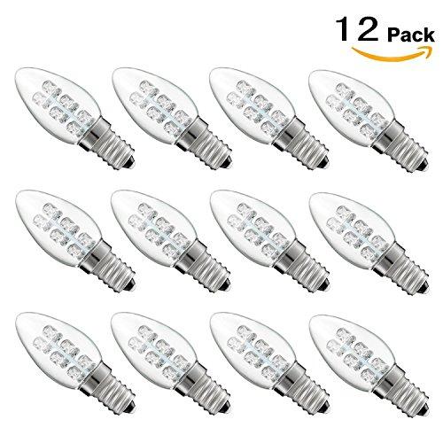 MRDENG Power Boulder LED 0.4 Watt (5W) 20 Lumen C7 Night Light Bulb, 2200K Soft White Light, E12 Base 12-Pack - Power White Led Light