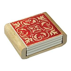 CounterArt Spanish Tiles-Red Absorbent Coasters in Wooden Holder, Set of 4