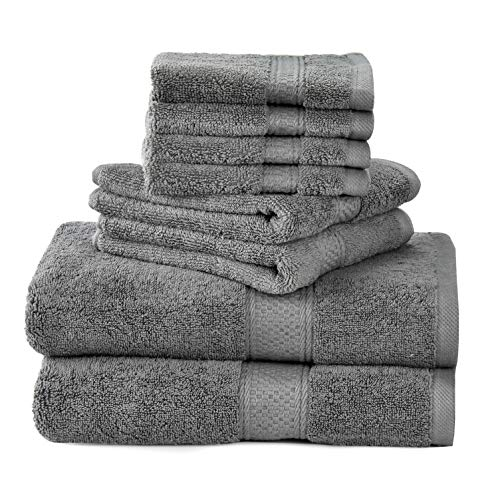 Talvania Towel Set - 100% Ring Spun Cotton 600 GSM Luxury Bath Towels | 8 Piece Towel Set Grey; 2 Bath Towels, 2 Hand Towels and 4 Washcloths Perfect for Bathrooms & As A Baby Bath Towel (Grey)
