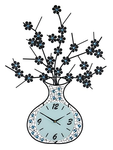 "IMPORTED GIFT DEPOT Black Vase & Flower Wall Clock Blue Stone Embellishments 29"" x 22"" Modern Elegant Home Large Decorative Wall Art Battery Operated Review"
