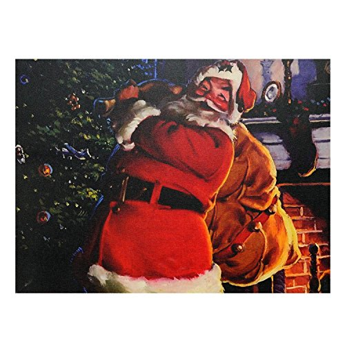 - Northlight LED Lighted Jolly Santa Claus with Bag of Gifts Christmas Canvas Wall Art 11.75