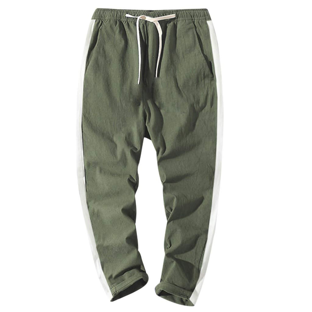 Men's Drawstring Sweatpants Fashion Casual Loose Solid Plus Size Trousers Pant with Pocket