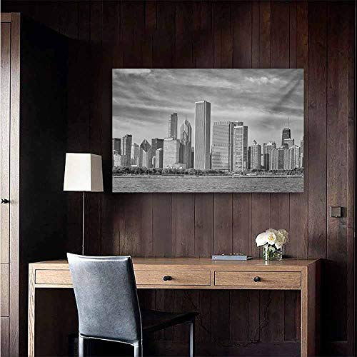 duommhome Chicago Skyline Art Oil Paintings Black and White Filtered Photo of Waterfront Cityscape on a Cloudy Day Print Canvas Prints for Home Decorations 20