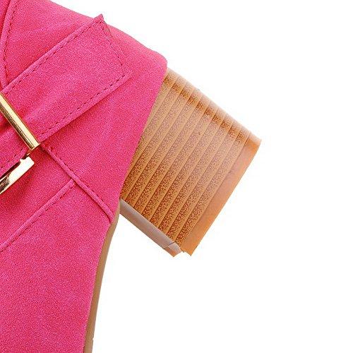 AllhqFashion Mujeres Caña Alta Sólido Sin cordones Puntera Redonda Tacón Medio Botas Rosa