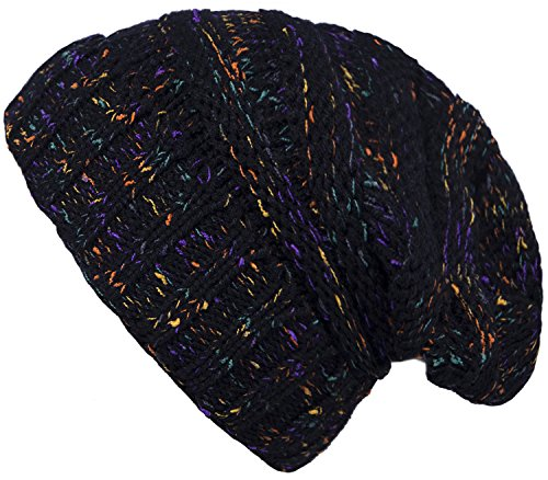 Fasker Women CC Style Confetti Oversized Chunky Hat Cable Knit Slouchy Beanie Hat (Awesome Beanie)