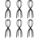 Dreamlover 6 Pack Tall Wig Stands for All Wigs, 19.7 Inches Portable Collapsible Wig Dryer, Durable Wig Display Tool, Travel Wig Stands (Black)