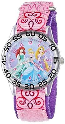 Disney Kids' W001192 Time Teacher Princess Watch with Pink Nylon Band