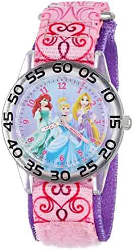 Disney Kids' W001192 Time Teacher Princess Watch with Pink Nylon Band
