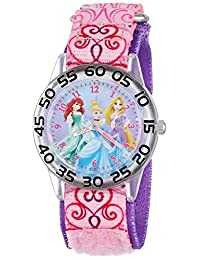 Disney Kids W001192 Princess Plastic Printed Stretch Nylon Strap Watch