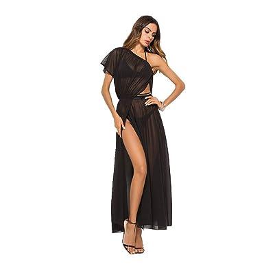 Luxande Vestido de Gasa Vestido de Costura Negro Falda con ...