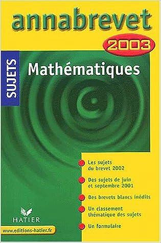 Lire un Mathématiques, sujets 2003 pdf, epub ebook