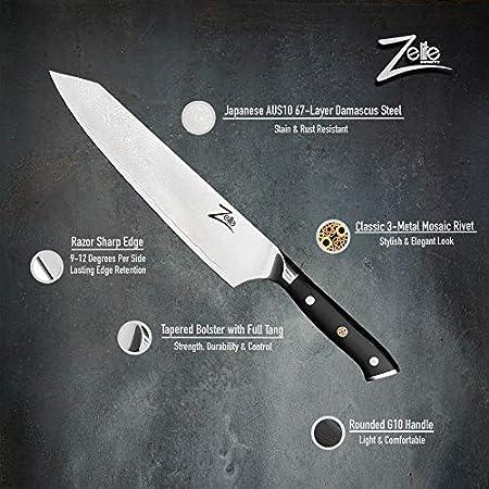 Zelite Infinity, Cuchillos cocina Kiritsuke 23 cm- Utensilios Cocina Serie Alpha-Royal, Acero de Damasco Japonés AUS-10 de 67 capas - Afilado de Navaja, Excelente Consistencia de Corte
