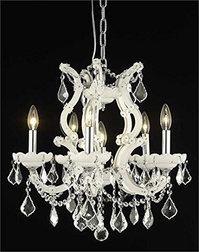- Karla White Traditional 6-Light Hanging Chandelier Swarovski Spectra crystal in Crystal (Clear)-2380D20WH-SA--20