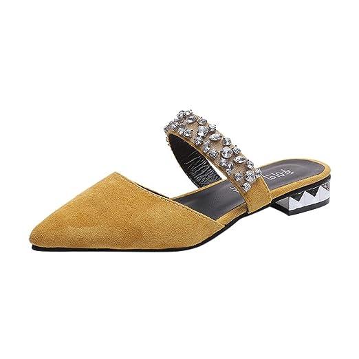 LILICAT✈✈ Moda para Mujer Punto Casual Punta Cristal Zapatos de Trabajo Zapatos de tacón