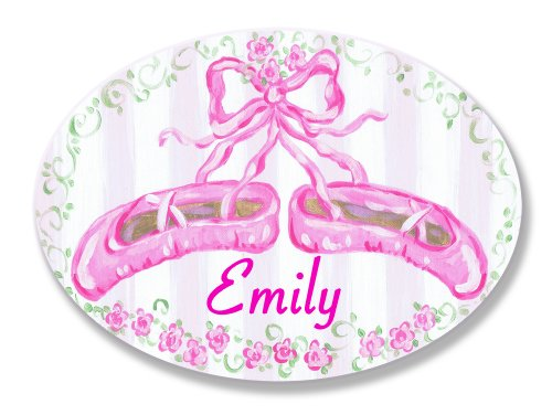 (The Kids Room by Stupell Emily, Pink Ballet Slippers Personalized Oval Wall)