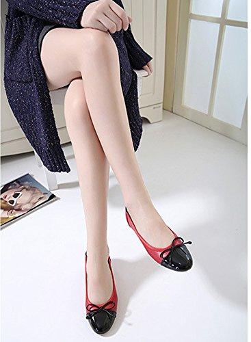 Minetom Damen Elegant Mode Sommer Herbst Ballerinas Bowknot Slip on Flach Schuhe Slippers Sandalen Rot