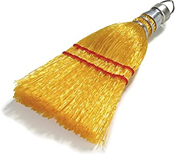 """Carlisle 3663400 Synthetic Corn Whisk Broom, 9"""" Head Width, 3"""" Overall Length, Straw (Case of 12)"""