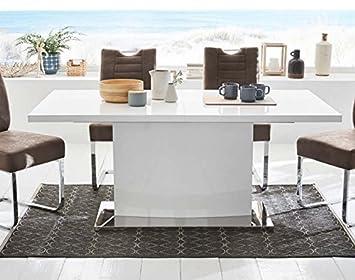 Tisch lifestyle4living Esstisch 120 x 80 cm Esszimmertisch K/üchentisch Hochglanz Chrom wei/ß ausziehbar S/äulentisch Ausziehtisch Synchronauszug