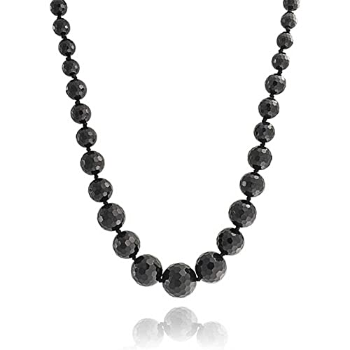 Bling Jewelry Black Onyx Faceted Graduated Bead Strand Necklace for Women Silver Plated Clasp 18 Inches