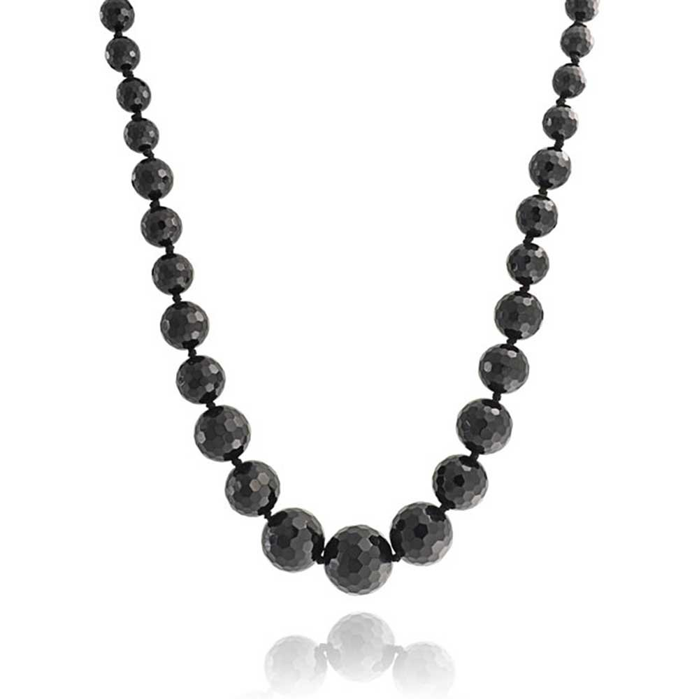 Beaded Strand Necklace Natural Black Onyx Faceted Graduated Silver Plated Brass 18 Inch by Bling Jewelry