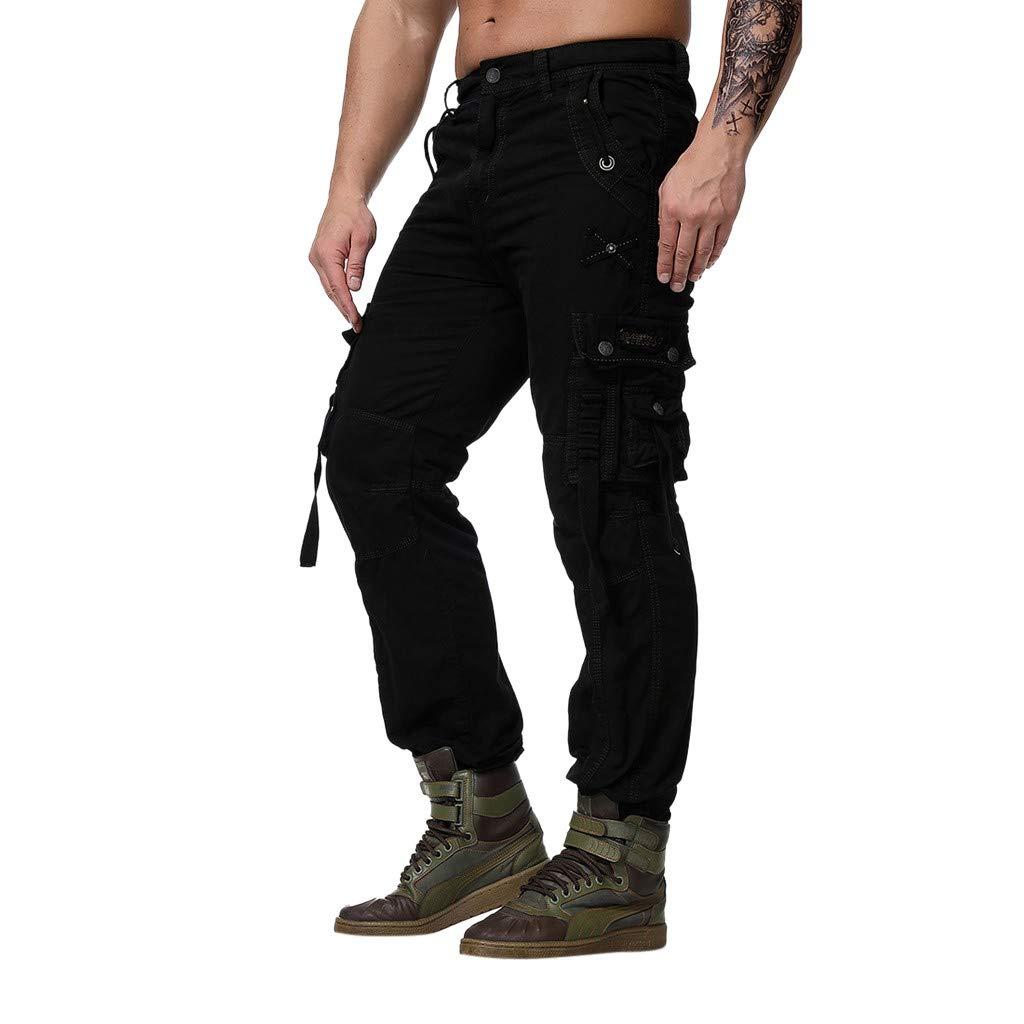 BingYELH Work Cargo Pants,Men's Multi-Pocket Overalls Military Wind Straight Pants Trousers Casual Pants Nine Pants Black by BingYELH