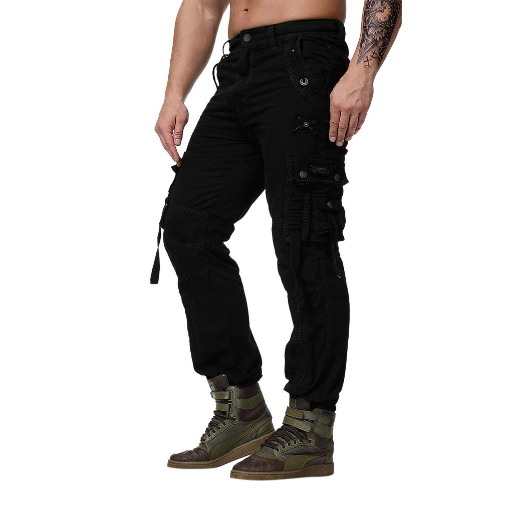 Palarn Casual Athletic Cargo Pants Clothes, Fashion Men's Regular Fit Pants Cargo Pants Casual Trousers Work Pants Black