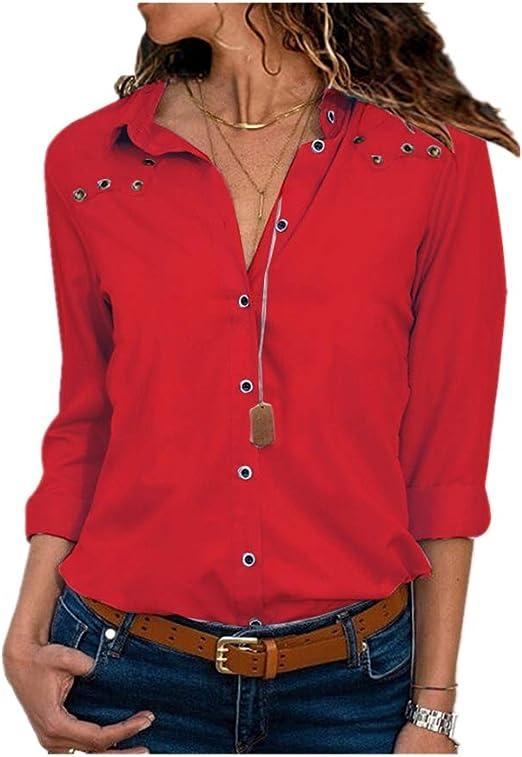 Heeecgoods Estilo de la Moda Camisa de Manga Larga de Color Puro para Mujer Camisa de chifón con Cuello en V Blusa (Color : Rojo, tamaño : L): Amazon.es: Hogar