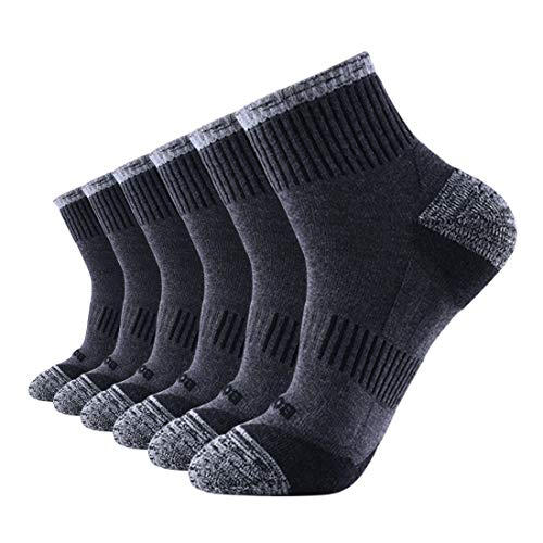 BOFAHU Men's Upgrade Fast Drying Quarter Running Socks, Athletic Arch Compression(6 Pairs Pack) (Gray) from BOFAHU